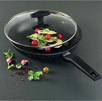 Сковорода с крышкой и мраморным покрытием Tiross TS-1251P 24 см Black