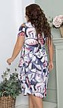 Нарядное летнее шифоновое платье с открытыми плечами больших размеров 50,52,54,56, Абстракция, фото 4