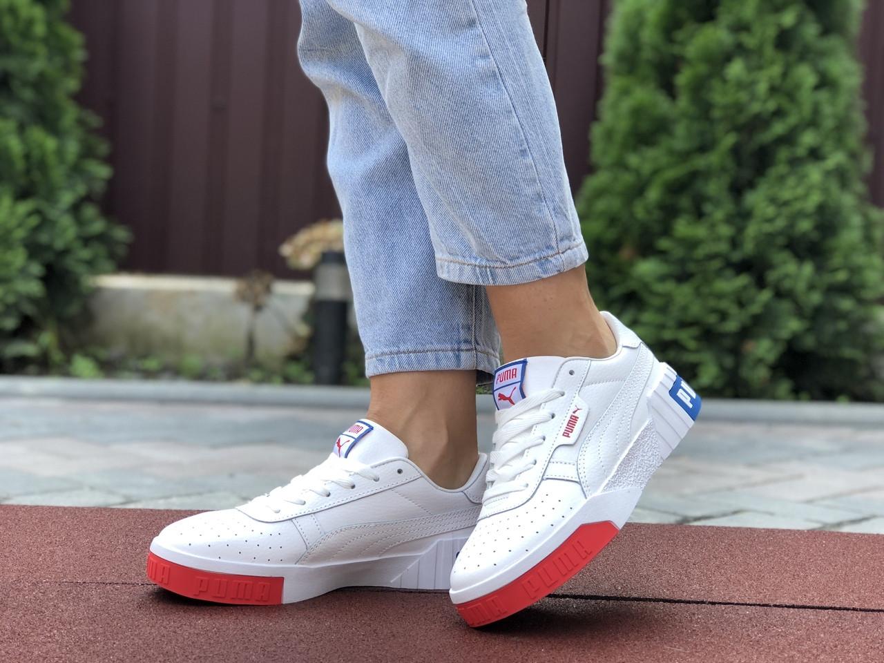 Женские кроссовки Puma Cali Bold (бело-красные с синим) 9626