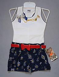 Детский летний комплект для девочки Kus: майка-босерка, шорты (Petito Club, Турция)