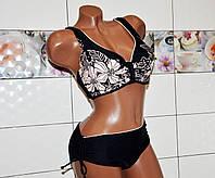Батал 62 размер, красивый черный раздельный женский купальник, бюстик формовая чашка с узором в стразах.