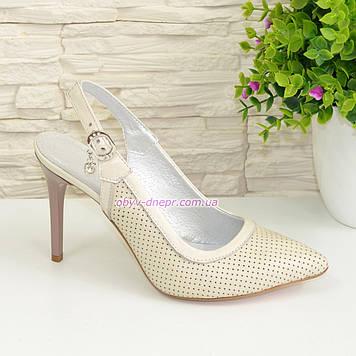 Стильные туфли женские на шпильке, натуральная бежевая кожа. 36 размер