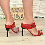 Женские босоножки на шпильке, натуральная красная кожа. 40 размер, фото 2