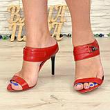Женские босоножки на шпильке, натуральная красная кожа. 40 размер, фото 3