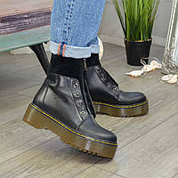 Ботинки демисезонные женские черные на молнии. 40 размер
