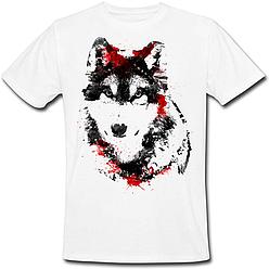 Футболка Fat Cat Wolf - Black and red (белая)