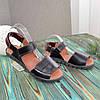 Босоніжки чорні шкіряні на липучках, фото 3