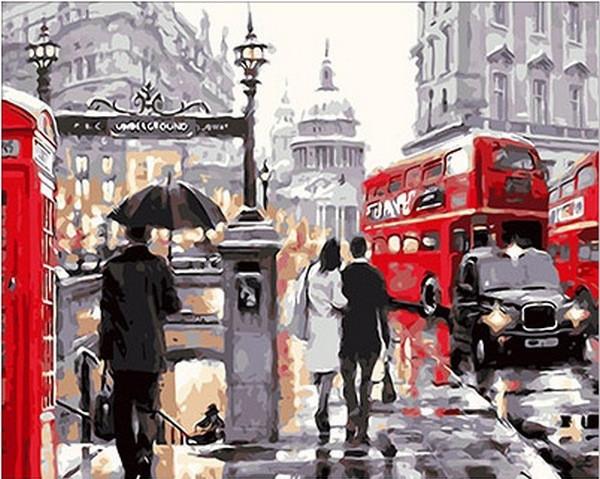Картина по номерам 40×50 см. Mariposa Лондонский дождь Художник Ричард Макнейл (Q 222)