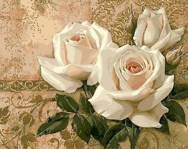 Картина по номерам 40×50 см. Mariposa Кремовые розы (Q 416)