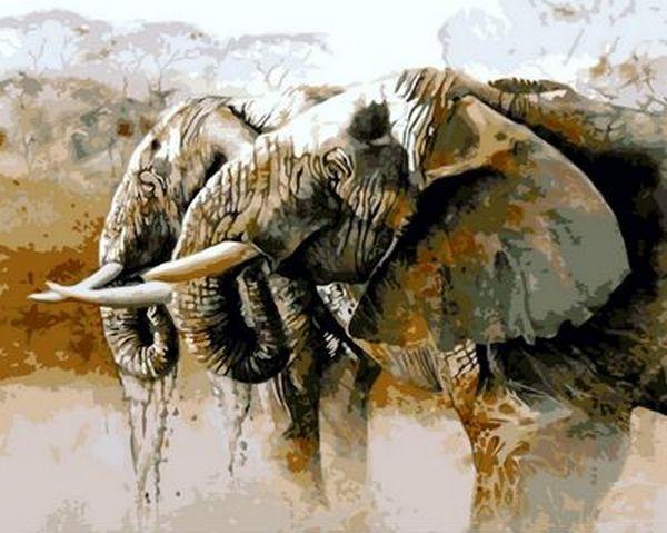 Картина по номерам 40×50 см. Mariposa Слоны на водопое Художник Карен Лоуренс-Роу (Q 814)