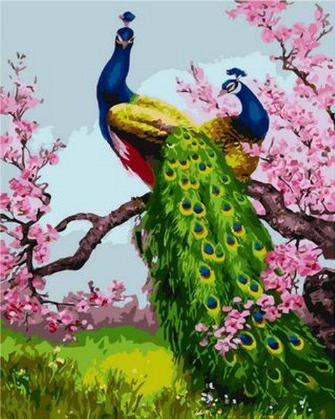 Картина по номерам 40×50 см. Mariposa Павлины на ветке сливы (Q 1189)