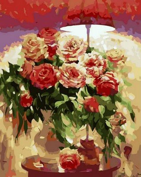 Картина по номерам 40×50 см. Mariposa Букет под красным абажуром Художник Кузин Сергей (Q 1239)