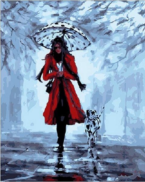 Картина по номерам 40×50 см. Mariposa Девушка с далматинцем Художник Хелен Коттл (Q 155)