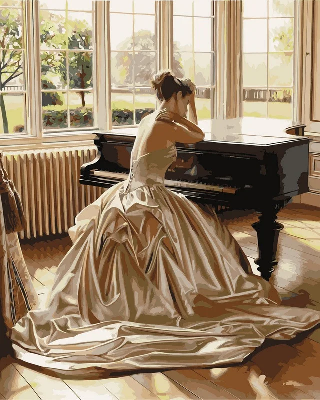 Картина по номерам 40×50 см. Mariposa Девушка у рояля Художник Роб Хэфферан (Q 1270)