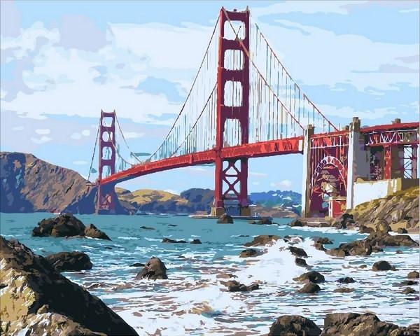Картина по номерам 40×50 см. Mariposa Мост Золотые Ворота (Q 2095)
