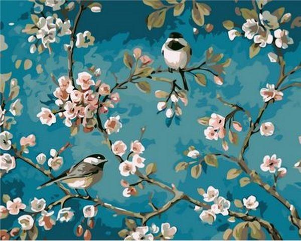Картина по номерам 40×50 см. Mariposa Синички на яблоне (Q 1083)