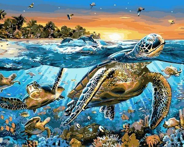 Картина по номерам 40×50 см. Mariposa Морские черепахи Художник Адриан Честерман (Q 2137)
