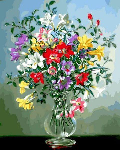 Картина по номерам 40×50 см. Mariposa Фрезии в стеклянной вазе Художник Альберт Уильямс (Q 2163)