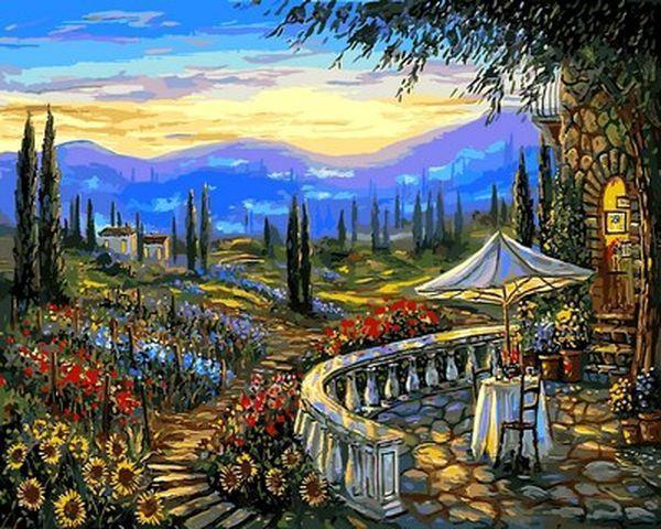 Картина по номерам 40×50 см. Mariposa Цветы Тосканы Венеция Художник Роберт Файнэл (Q 2174)