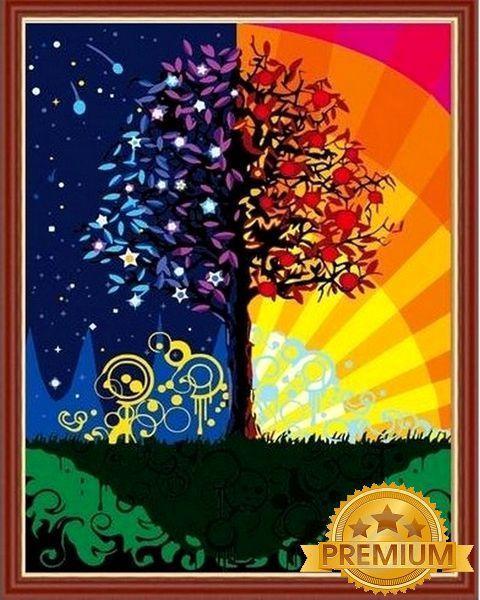 Картина по номерам 40×50 см. Babylon Premium (цветной холст + лак) Дерево счастья (NB 224)