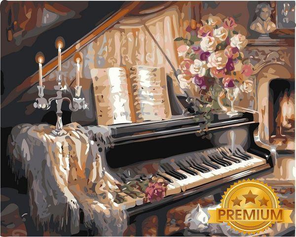 Картина по номерам 40×50 см. Babylon Premium (цветной холст + лак) Музыкальный вечер у камина Художник Гибсон Джуди (NB 124)