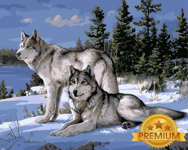 Картина по номерам 40×50 см. Babylon Premium (цветной холст + лак) Волки на снегу Художник Джозеф Хаутман (NB 236)