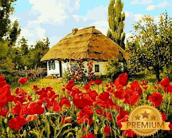 Картина по номерам 40×50 см. Babylon Premium (цветной холст + лак) Квітнуть маки (NB 355)