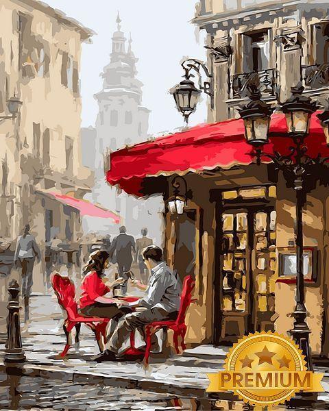 Картина по номерам 40×50 см. Babylon Premium (цветной холст + лак) Лондонское кафе Художник Ричард Макнейл (NB 442)