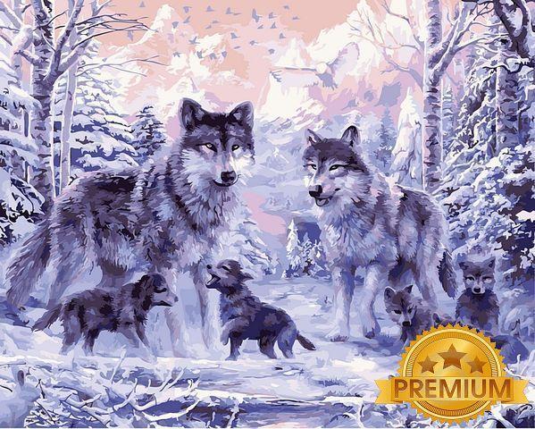 Картина по номерам 40×50 см. Babylon Premium (цветной холст + лак) Волчье семейство (NB 466)