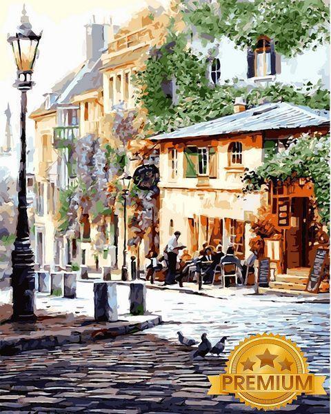 Картина по номерам 40×50 см. Babylon Premium (цветной холст + лак) Италия Летнее кафе (NB 509)