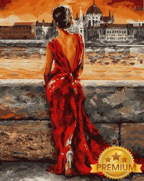 Картина по номерам 40×50 см. Babylon Premium (цветной холст + лак) Итальянка в красном (NB 512)