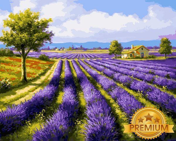 Картина по номерам 40×50 см. Babylon Premium (цветной холст + лак) Лавандовые поля Художник Сунг Ким (NB 530)