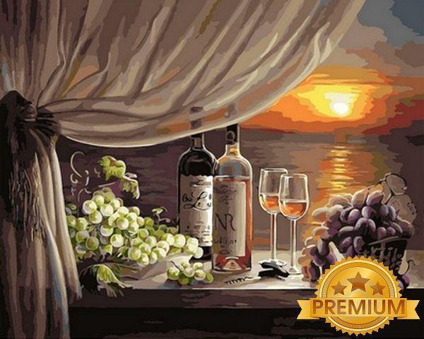 Картина по номерам 40×50 см. Babylon Premium (цветной холст + лак) Вино на закате (NB 596)