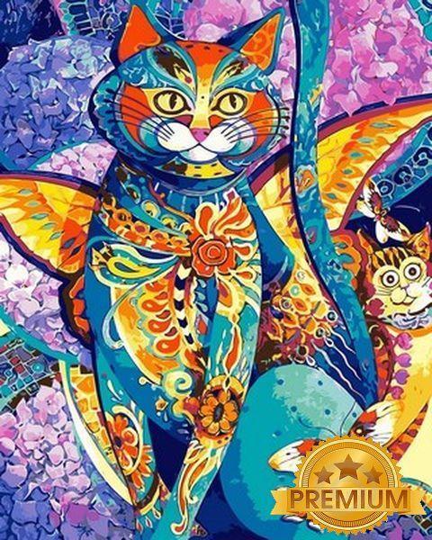 Картина по номерам 40×50 см. Babylon Premium (цветной холст + лак) Кошачья фиеста (NB 613)
