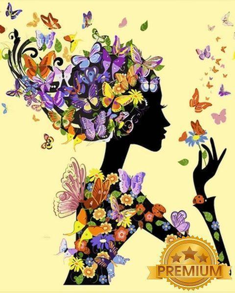 Картина по номерам 40×50 см. Babylon Premium (цветной холст + лак) Девушка с бабочками (NB 632)