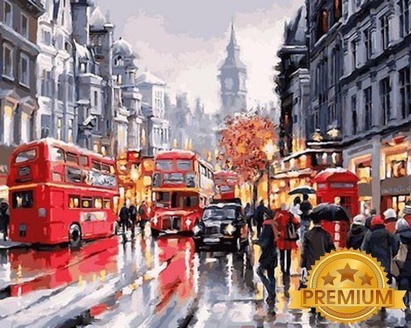 Картина по номерам 40×50 см. Babylon Premium (цветной холст + лак) Уайтхолл - улица в центре Лондона Художник Ричард Макнейл (NB 763)