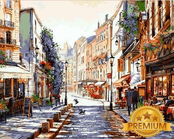 Картина по номерам 40×50 см. Babylon Premium (цветной холст + лак) Монмартр Париж Художник Ричард Макнейл (NB 776)
