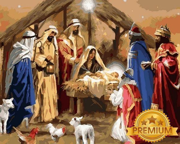 Картина по номерам 40×50 см. Babylon Premium (цветной холст + лак) Рождение Иисуса Художник Ричард Макнейл (NB 789)