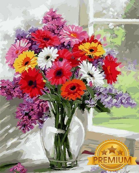 Картина по номерам 40×50 см. Babylon Premium (цветной холст + лак) Герберы Художник Ричард Макнейл (NB 797)