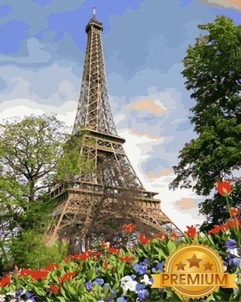 Картина по номерам 40×50 см. Babylon Premium (цветной холст + лак) Эйфелева башня весной Художник Адриан Честерман (NB 820)