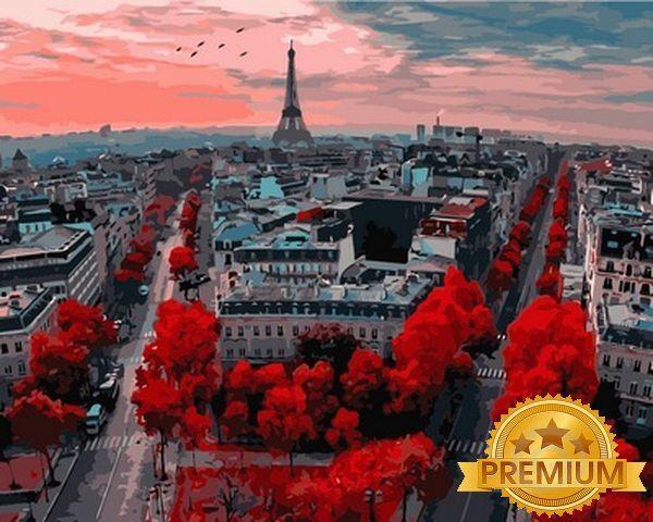 Картина по номерам 40×50 см. Babylon Premium (цветной холст + лак) Закат в Париже (NB 833)