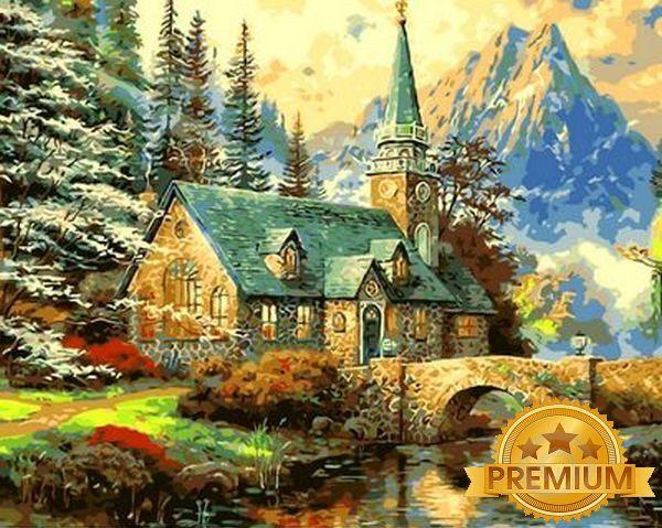 Картина по номерам 40×50 см. Babylon Premium (цветной холст + лак) Альпийский пейзаж Часовня Художник Томас Кинкейд (NB 497)
