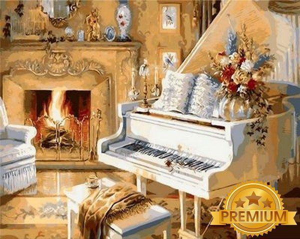 Картина по номерам 40×50 см. Babylon Premium (цветной холст + лак) Музыкальный вечер Художник Джуди Гибсон (NB 921)