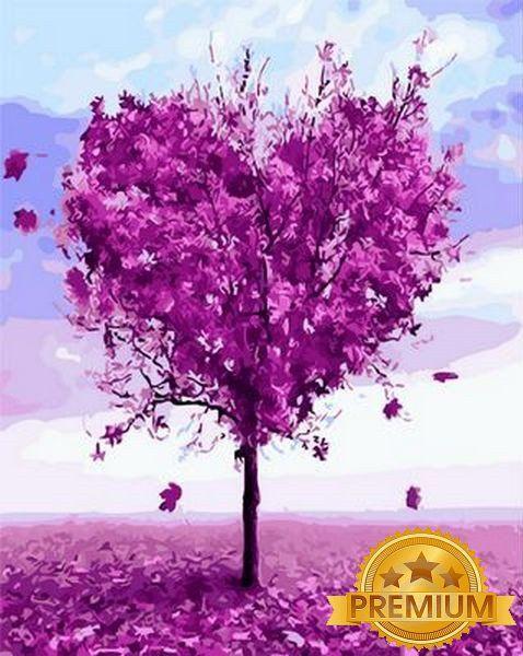 Картина по номерам 40×50 см. Babylon Premium (цветной холст + лак) Дерево любви (NB 1218)
