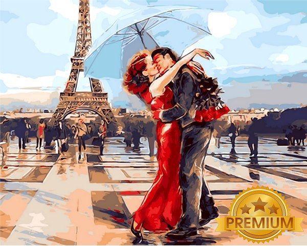 Картина по номерам 40×50 см. Babylon Premium (цветной холст + лак) Париж - город влюбленных (NB 1431)