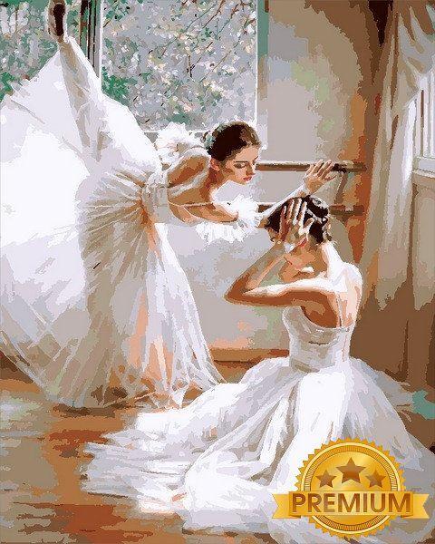 Картина по номерам 40×50 см. Babylon Premium (цветной холст + лак) Балерины Художник Гуань Цзэцзуй (NB 1450)