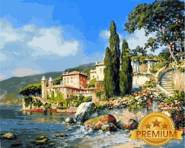 Картина по номерам 40×50 см. Babylon Premium (цветной холст + лак) Озеро Комо Художник Михаил Сатаров (Nb 850)