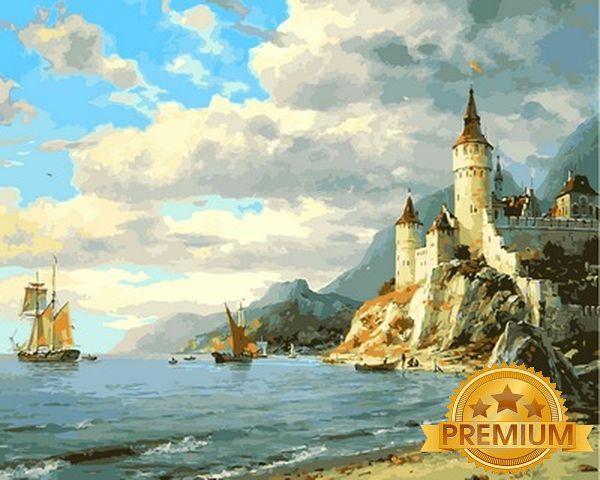 Картина по номерам 40×50 см. Babylon Premium (цветной холст + лак) Дворец у моря Художник Валерий Черненко (NB 855)