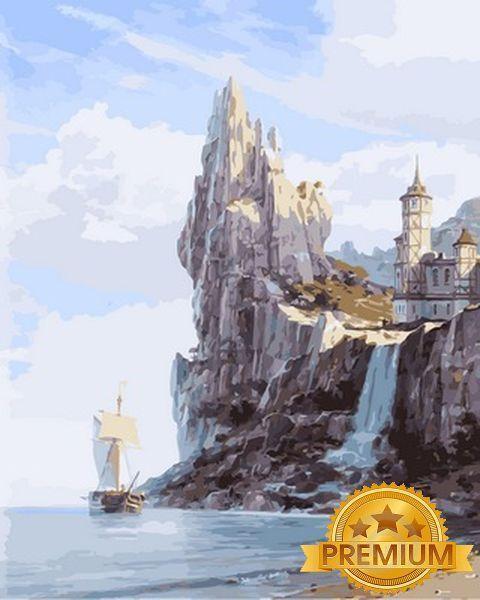 Картина по номерам 40×50 см. Babylon Premium (цветной холст + лак) Белый замок над водопадом Художник Валерий Черненко (NB 856)