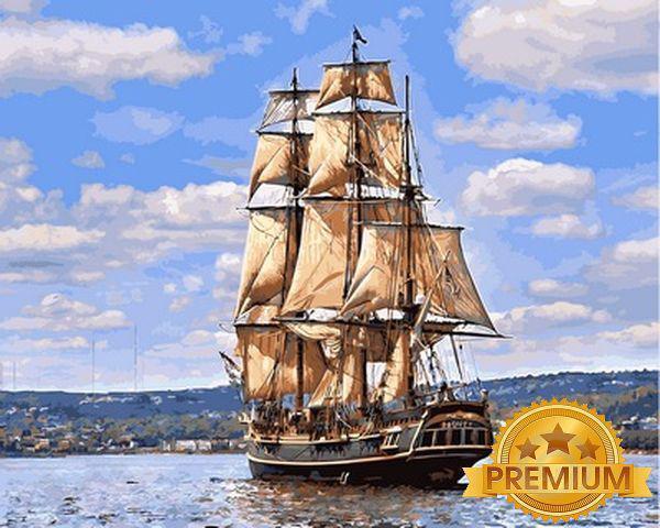 Картина по номерам 40×50 см. Babylon Premium (цветной холст + лак) Вооружённое судно Его Величества «Баунти» (NB 885)